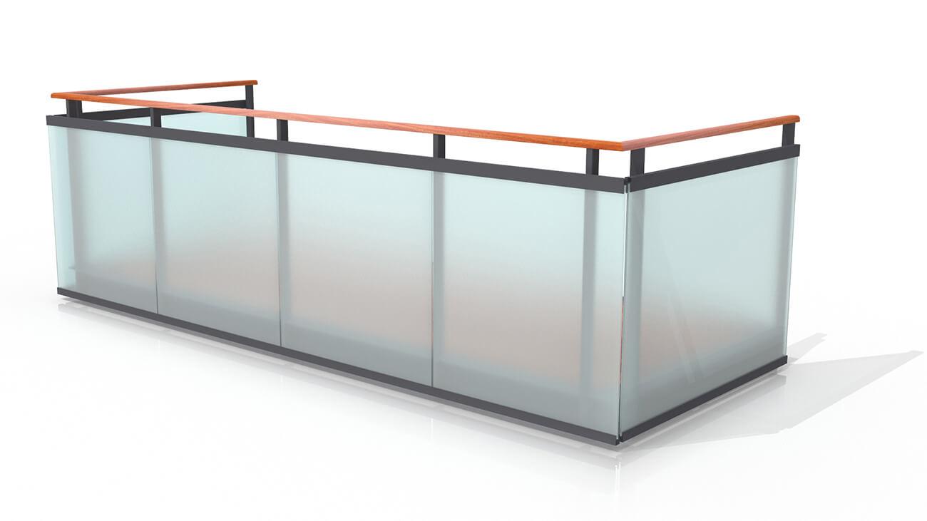 Räcke av härdat och laminerat glas